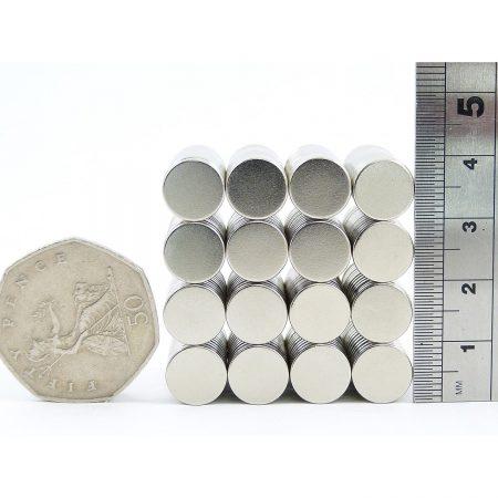 10mm x 2mm neodymium magnets comparison to 50p