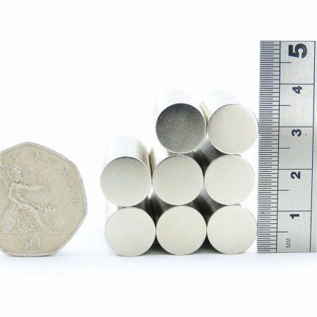 12mm x 0.5mm neodymium magnets comparison to 50p