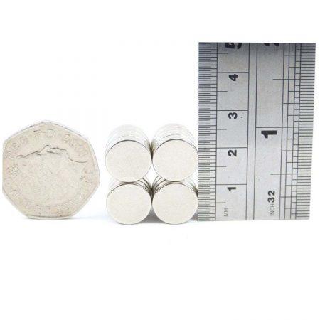 12mm x 3mm neodymium magnets comparison to 50p