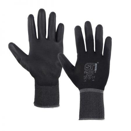 supertouch pu electron fixer gloves in black