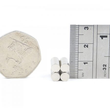5mm x 1mm neodymium magnets comparison in size to 50p