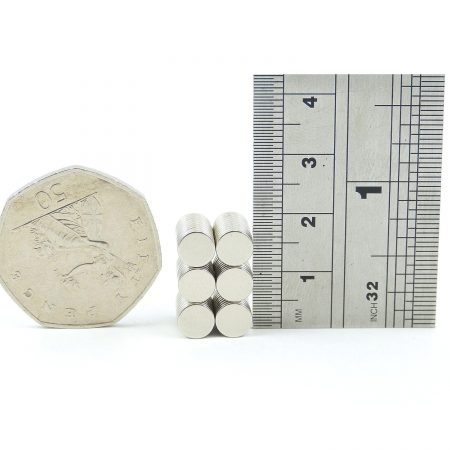 6mm x 1mm neodymium magnets pack of 50 comparison of size to 50p