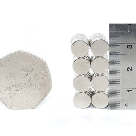 8mm x 2mm neodymium magnets pack of 50 comparison in size to 50p