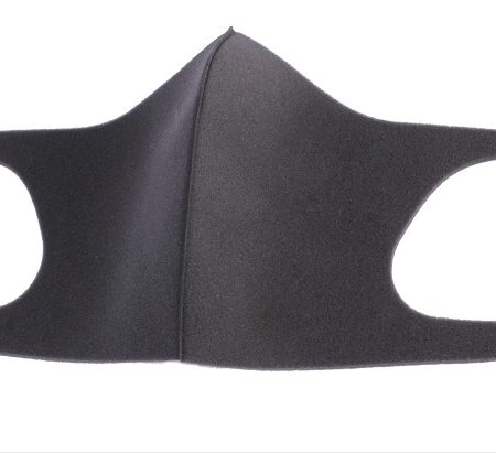 black reusable face mask with ear loops
