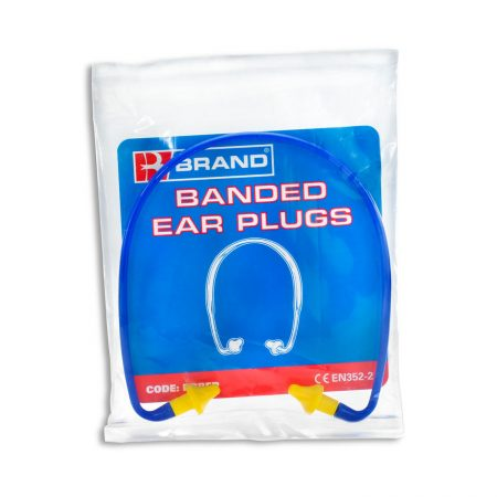 banded ear plugs in plastic pouch