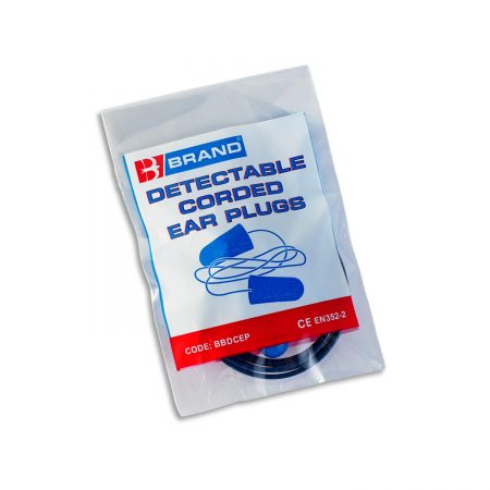 detectable corded ear plugs in plastic pouch