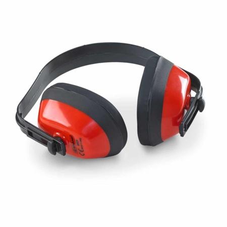 folding ear defenders in red lying down