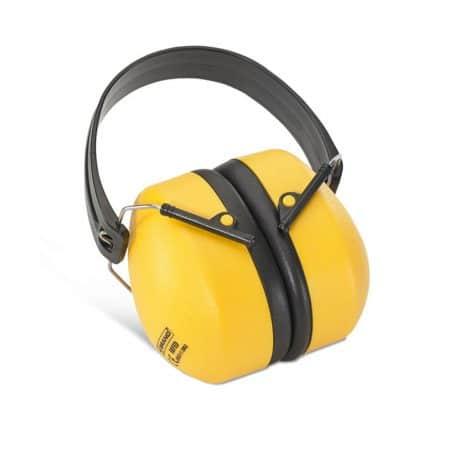 folding ear defenders in yellow