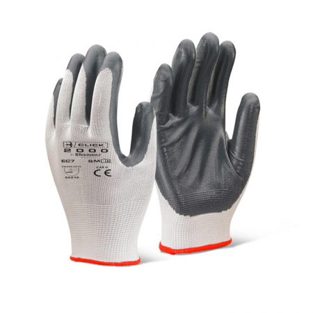 Click nitrile covered work gloves in white and grey