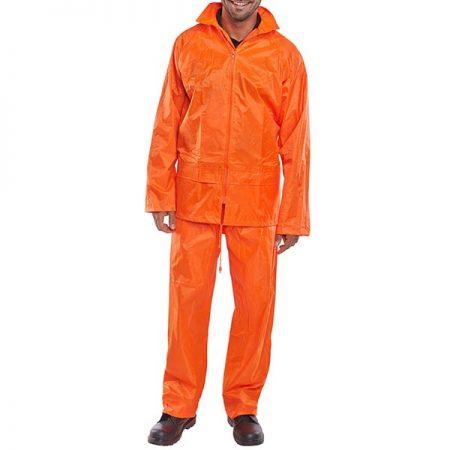 hi vis orange nylon waterproof suit