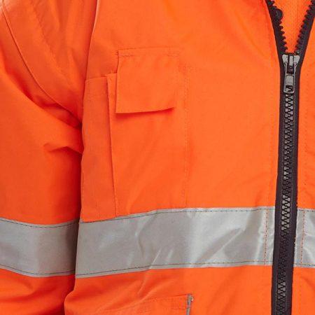 close up of zip on orange hi vis jacket