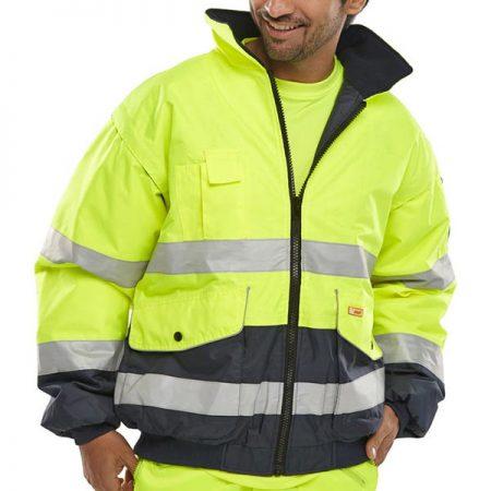 yellow and navy hi vis jacket