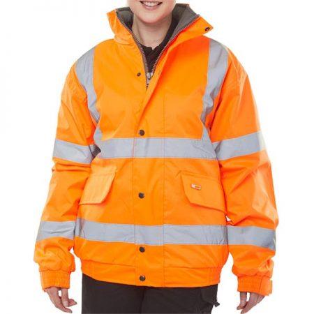 fleece lined hi vis bomber jacket in orange zipped up