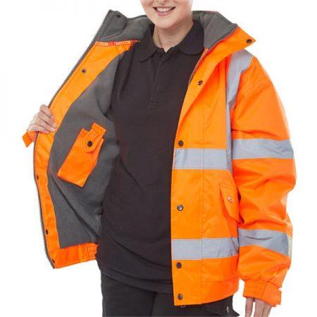 fleece lined hi vis bomber jacket in orange open shot