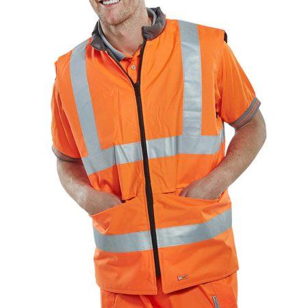 hi vis reversible body warmer in orange
