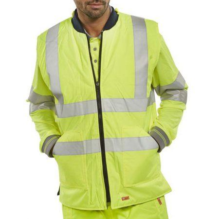 hi vis reversible body warmer in yellow
