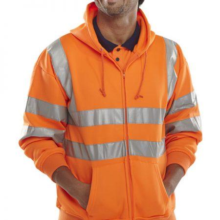 hi vis orange hoodie with zip front