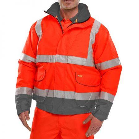 hi vis red and grey bomber jacket