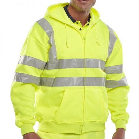 hi vis yellow hoodie with zip front