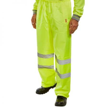 hi vis yellow over trousers