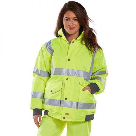 hi vis yellow bomber jacket on woman