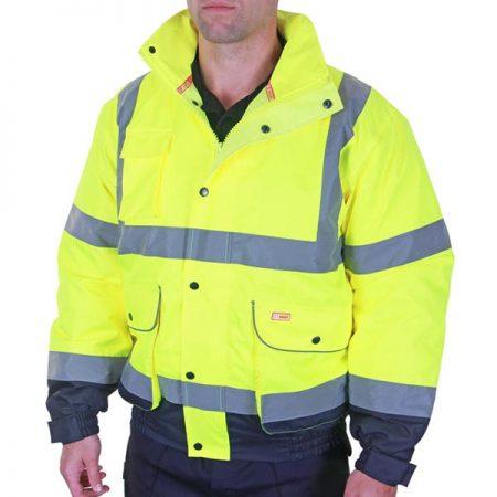 yellow and navy hi vis bomber jacket