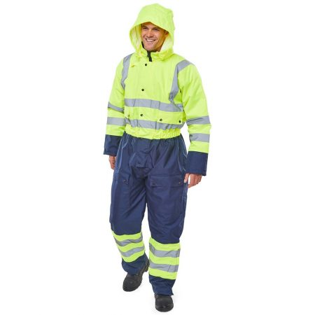 hi vis yellow and navy waterproof coverall