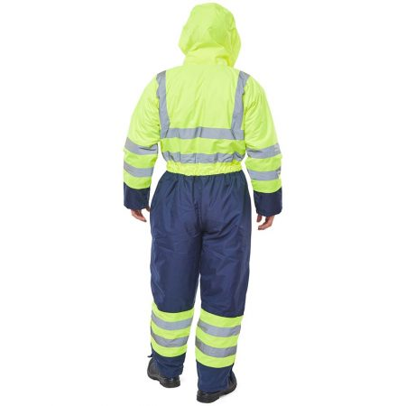 hi vis yellow and navy waterproof coverall reverse