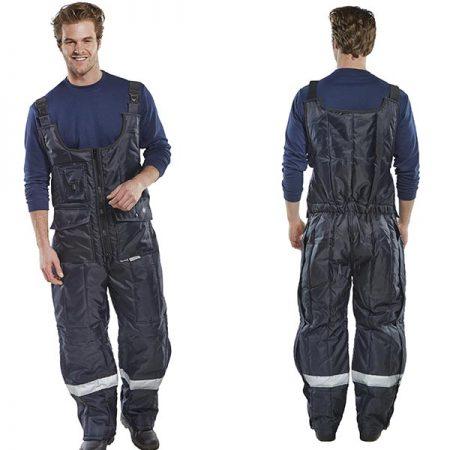 click freezerwear bib trousers in navy