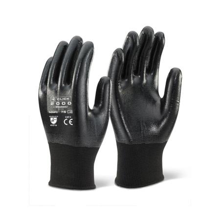 Click full nitrile coated work gloves in black