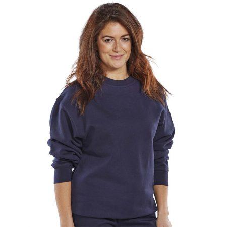 click premium polycotton sweatshirt in navy