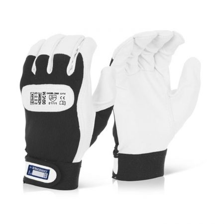 Click white drivers gloves with velcro cuff