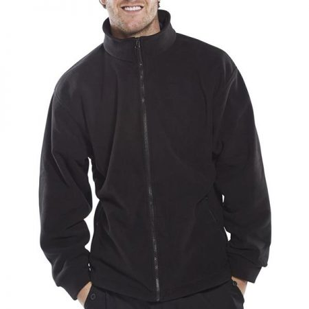 click workwear fleece zip-up jacket in black