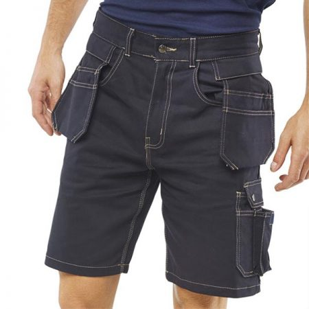 click workwear grantham multi-purpose pocket shorts in navy