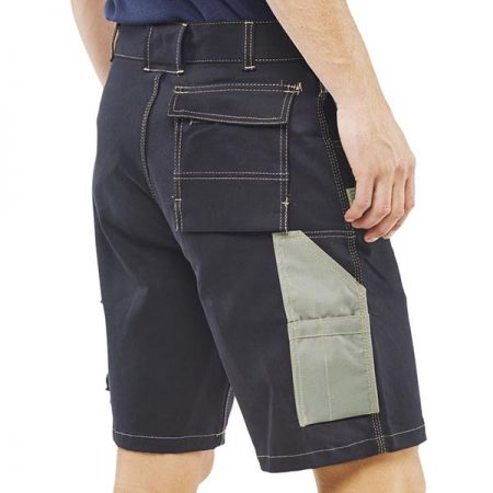 click workwear grantham multi-purpose pocket shorts in navy side view