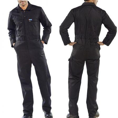 click workwear heavy duty boiler suit in black