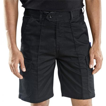 click workwear combat shorts in black