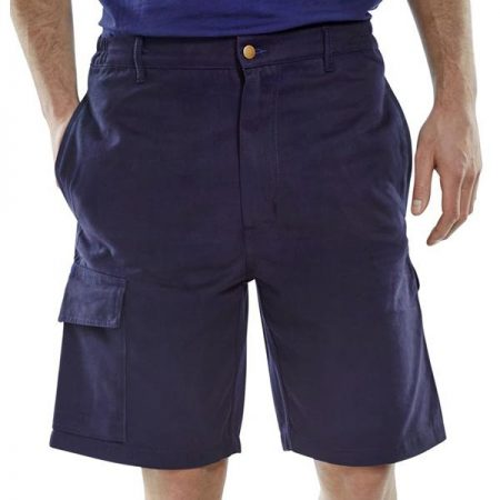 click workwear shorts in navy front shot