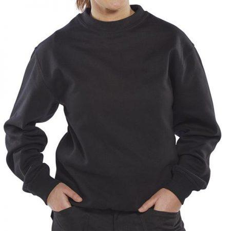 click workwear polycotton sweatshirt in black