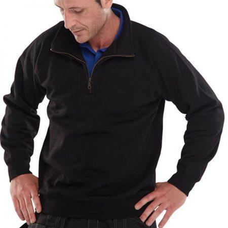 click workwear quarter zip sweatshirt in black
