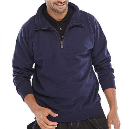 click workwear quarter zip sweatshirt in navy