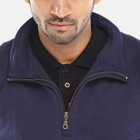 click workwear quarter zip sweatshirt in navy close up