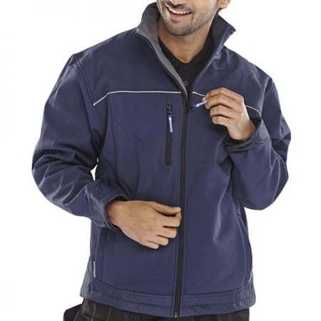 click workwear softshell jacket in navy