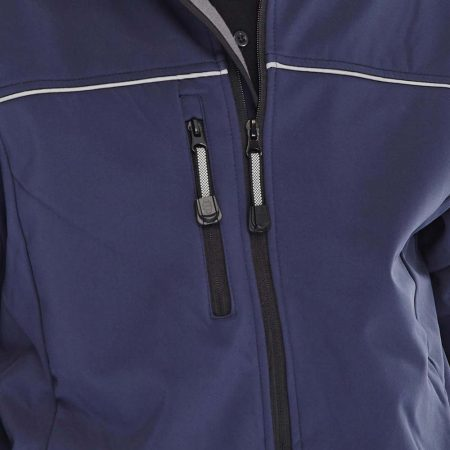 click workwear softshell jacket in navy close up