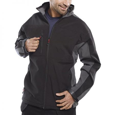 click workwear softshell jacket in black and grey