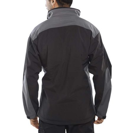 click workwear softshell jacket in black and grey reverse
