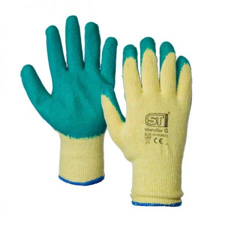 supertouch handler gloves in green and yellow