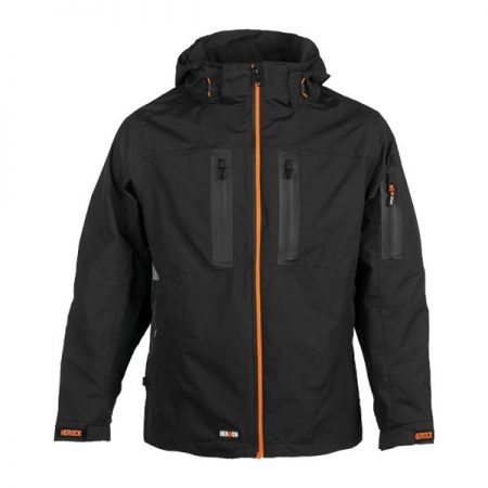 herock aspen hooded black jacket with orange zip