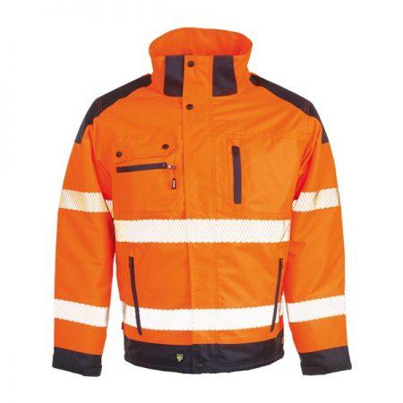 herock hi vis orange and navy hooded jacket