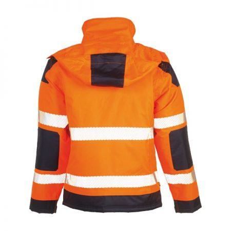 herock hi vis orange and navy hooded jacket reverse